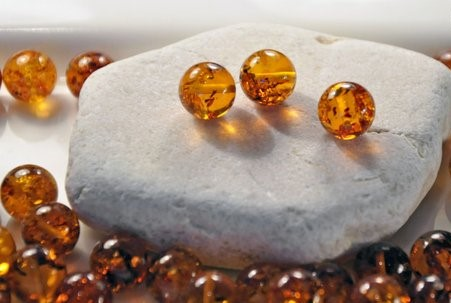 Lot of 5 Perfectly Round Cognac Baltic Amber Beads - SOLD OUT