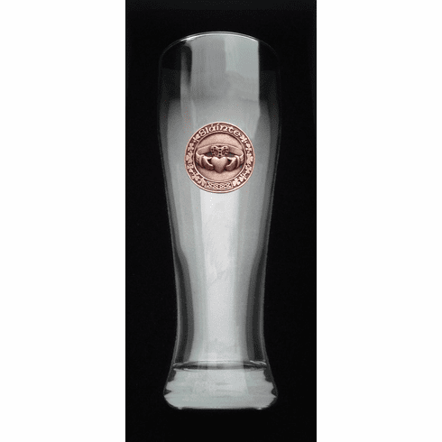 """23 Oz. Giant Beer Glass with Copper finish Claddagh """"Slainte"""""""