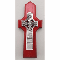 Antique Pewter Celtic Cross / Cherry Wood Finish Back
