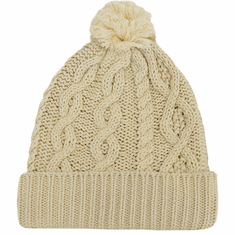 Aran Knitted Bobble Hat Cream