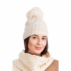 Aran Wool Knit Bobble Hat for Women