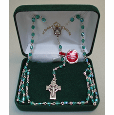 Aurora Borealis 4mm Rosary Sterling Silver St. Patrick Center