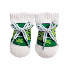 Baby Green/White Newborn Shamrock Booties