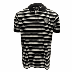 Black/Gry/White Guiness Woven Label Polo Shirt