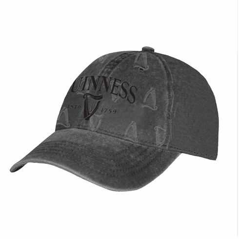 Black Guinness Distressed Harp Baseball Cap