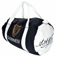 Black/White Guinness Canvas Barrel Bag