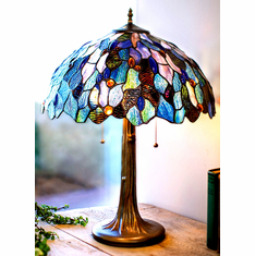 Celtic Blue Fairy Pool Stained Glass Lamp 12 inches