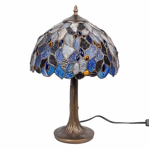 """Blue Celtic Fairy Pool Stained Glass Lamp 16"""""""