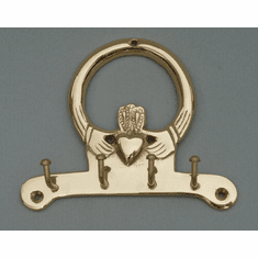 Brass Claddagh Key Holder With 4 Hooks
