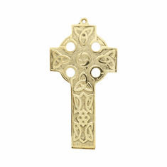 Brass Flat Celtic Wall Cross