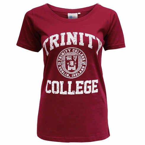 Burgundy/White Trinity College Seal Ladies T-Shirt