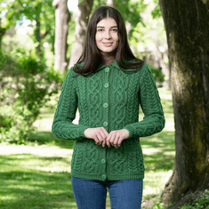 Cable Cardigan with Collar and Pockets