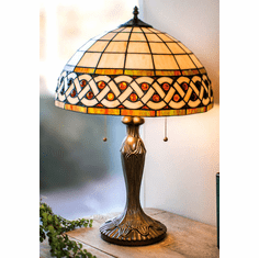 "Celtic Amber Gem Stone Lamp — 12"" Shade"