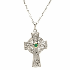 Celtic Cross Emerald Stone Pendant