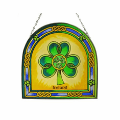 Celtic Design Shamrock Stained Glass Arch Panel