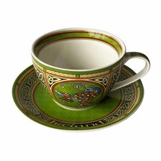 Celtic Peacock Bone China Cup & Saucer