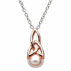 Celtic Silver Pearl Rose Gold Plated Necklace