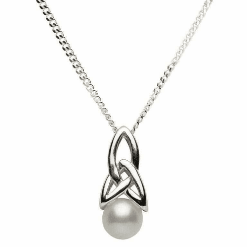 Celtic Trinity Knot Pendant with Pearl