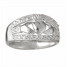 Celtic Twist Band Claddagh Ring