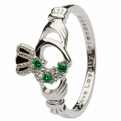 Claddagh Green & Silver Cubic Zirconia Heart Set Ring
