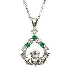 Claddagh Green Stone Necklace