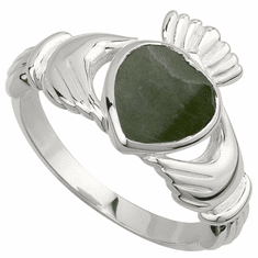 Claddagh Ring with Connemara Marble Setting
