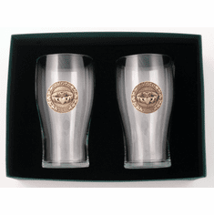 Claddagh Tulip Glasses  Pewter Accent ( pair )