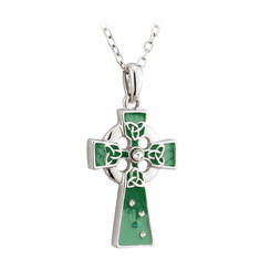 Enamel And Crystal Cross Pendant
