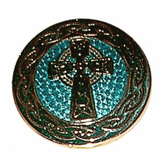 Enamel Green Celtic Cross Broach