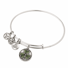 Enamel Shamrock Charm Bangle