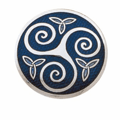 ENAMEL TRISKELE & TRINITY KNOT CELTIC BROACH Blue, Purple, or Green