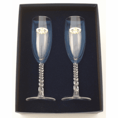 Flute Pair with Gold-plated Pewter Claddagh