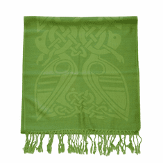 Forest Green Wool Scarf with Celtic Patterns