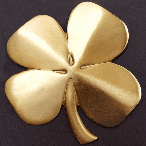 Four Leaf Clover Wall Hanging / Gold-plated Pewter