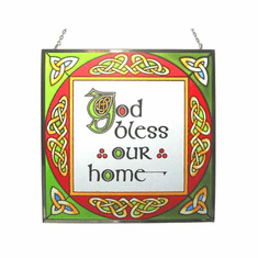 God Bless Our Home Square Stained Glass Panel