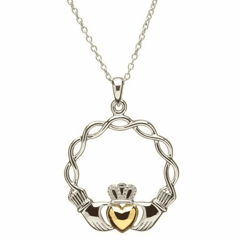 Gold Plated Braided Claddagh Pendant