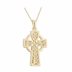 Gold Plated Pendant Engraved Celtic Cross 25mm