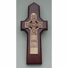 Gold-Plated Pewter Celtic Cross Cherry Finish Wood Back