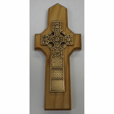 Gold-plated Pewter Celtic Cross/Natural Finish Wood Back