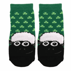 Green Shamrock Sheep Face Kids Socks