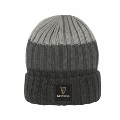 Grey Guinness Turn Up Rib Knit Beanie