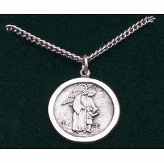 "Guardian Angel Medal Gold-plated Sterling Silver 18"" Chain"