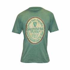 Guinness Green Distressed Gaelic Label Tee Shirt ( Small )