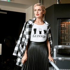 Guinness White and Black Sequin Ladies Shirt