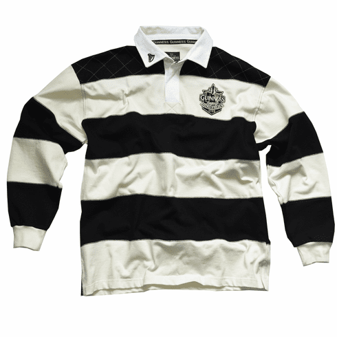 Guinness White and Navy Striped Rugby Jersey