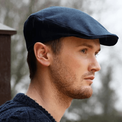 Hanna Hats Donegal Touring Tweed Linen Navy Cap