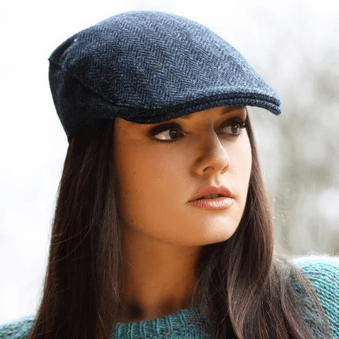 Hanna Hats Donegal Tweed Touring Cap Blue