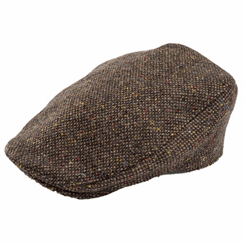 Hanna Hats Donegal Tweed Touring Cap Brown