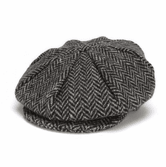 Hanna Hats Eight Piece Cap Black Herringbone
