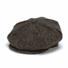 Hanna Hats Eight Piece Cap Brown Herringbone